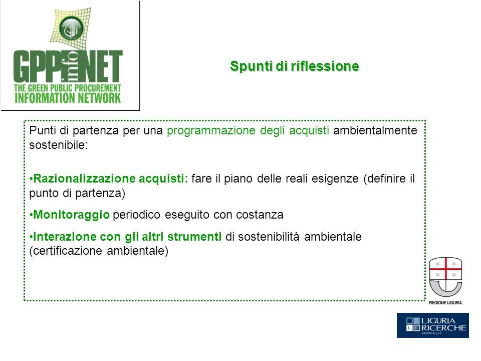 Punti di partenza per una programmazione degli acquisti ambientalmente sostenibile: Razionalizzazione acquisti: fare il piano delle reali esigenze (de