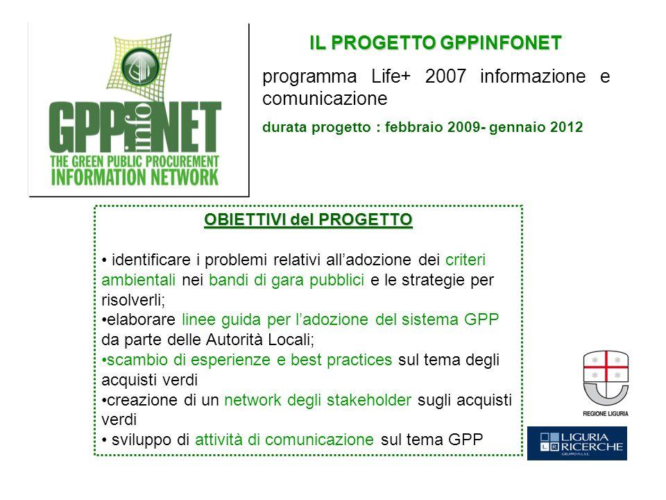IL PROGETTO GPPINFONET programma Life+ 2007 informazione e comunicazione durata progetto : febbraio 2009- gennaio 2012 OBIETTIVI del PROGETTO identifi