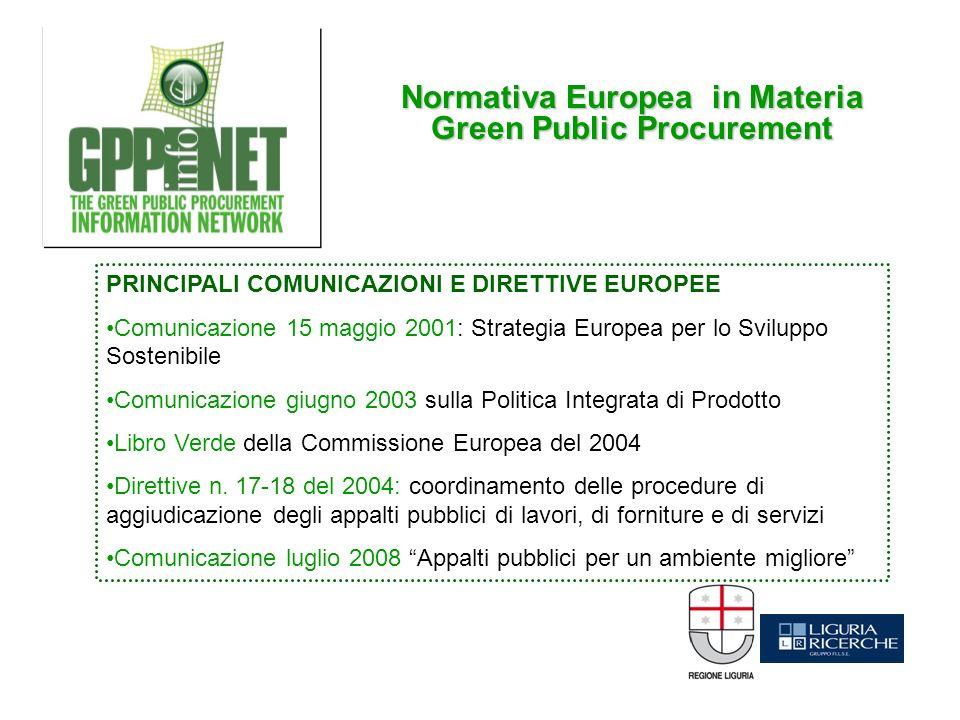 Normativa Europea in Materia Green Public Procurement PRINCIPALI COMUNICAZIONI E DIRETTIVE EUROPEE Comunicazione 15 maggio 2001: Strategia Europea per lo Sviluppo Sostenibile Comunicazione giugno 2003 sulla Politica Integrata di Prodotto Libro Verde della Commissione Europea del 2004 Direttive n.