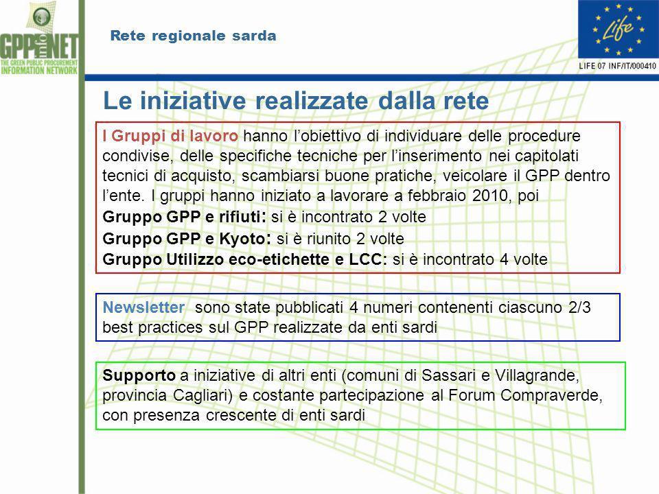 Rete regionale sarda Le iniziative realizzate dalla rete I Gruppi di lavoro hanno lobiettivo di individuare delle procedure condivise, delle specifich