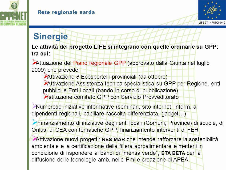 Rete regionale sarda Sinergie Le attività del progetto LIFE si integrano con quelle ordinarie su GPP: tra cui: Attuazione del Piano regionale GPP (app