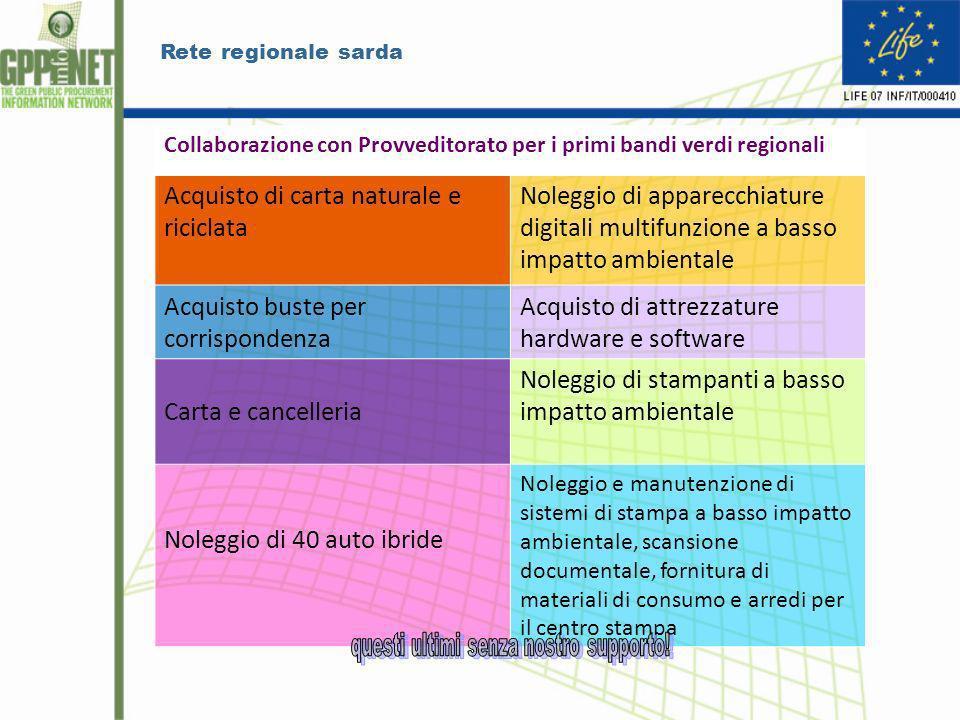 Rete regionale sarda Collaborazione con Provveditorato per i primi bandi verdi regionali Acquisto di carta naturale e riciclata Noleggio di apparecchi