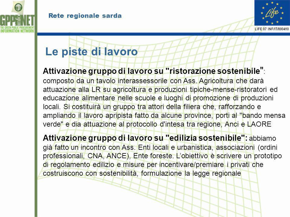 Rete regionale sarda Le piste di lavoro Attivazione gruppo di lavoro su ristorazione sostenibile : composto da un tavolo interassessorile con Ass.