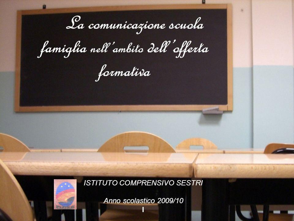 La comunicazione scuola famiglia nellambito dellofferta formativa ISTITUTO COMPRENSIVO SESTRI Anno scolastico 2009/10 I