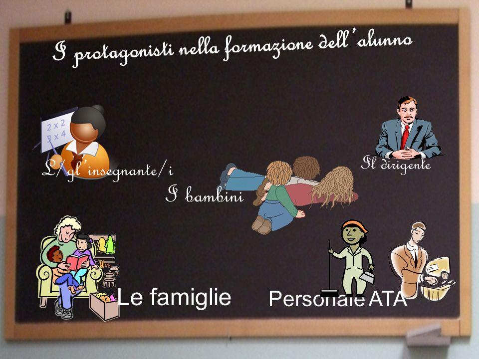 L/glinsegnante/i Il dirigente I protagonisti nella formazione dellalunno I bambini Personale ATA Le famiglie
