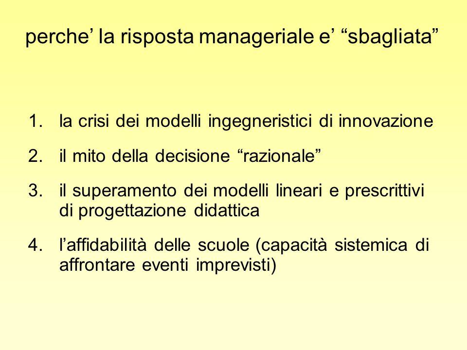 perche la risposta manageriale e sbagliata 1.la crisi dei modelli ingegneristici di innovazione 2.il mito della decisione razionale 3.il superamento d
