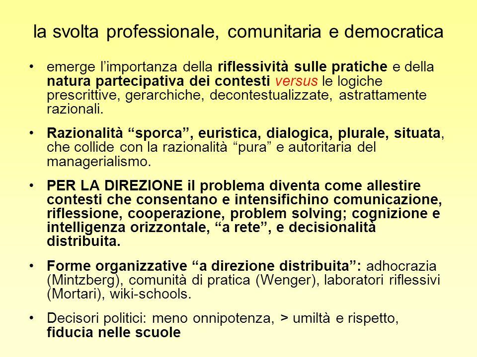 la svolta professionale, comunitaria e democratica emerge limportanza della riflessività sulle pratiche e della natura partecipativa dei contesti vers