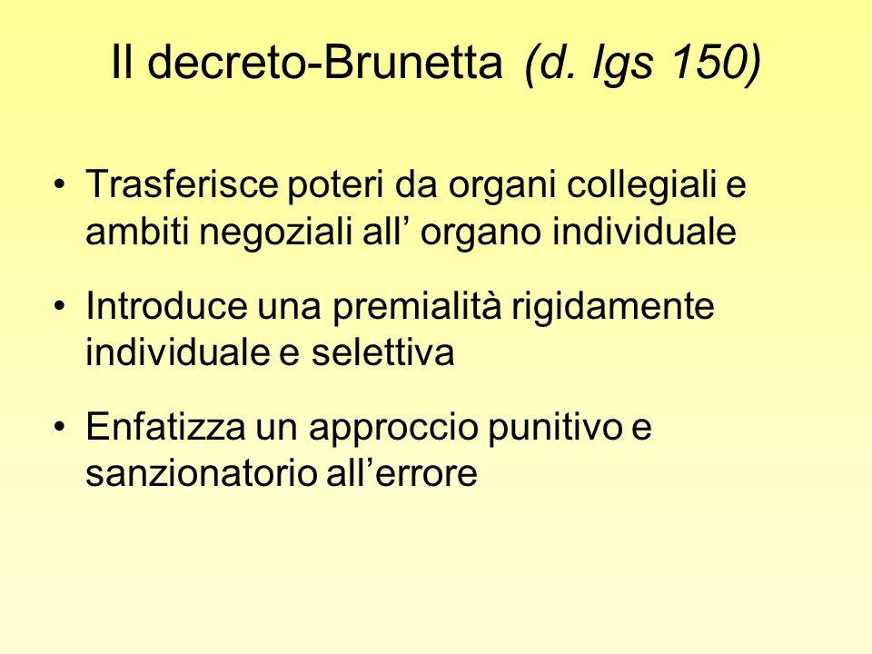Il decreto-Brunetta (d. lgs 150) Trasferisce poteri da organi collegiali e ambiti negoziali all organo individuale Introduce una premialità rigidament