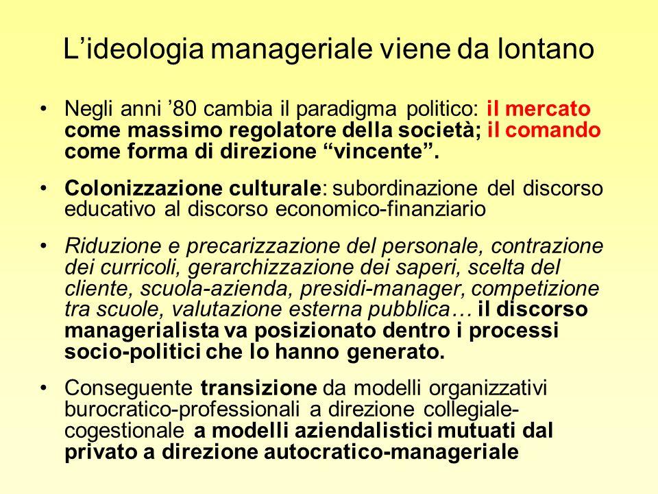 Lideologia manageriale viene da lontano Negli anni 80 cambia il paradigma politico: il mercato come massimo regolatore della società; il comando come forma di direzione vincente.