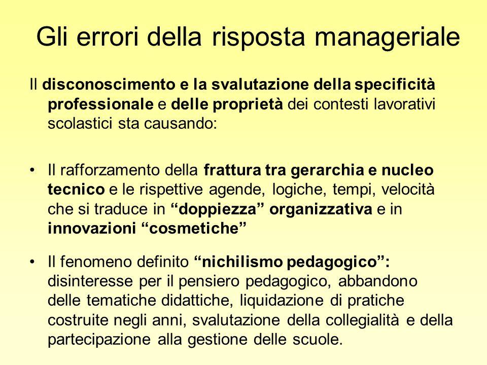 Gli errori della risposta manageriale Il disconoscimento e la svalutazione della specificità professionale e delle proprietà dei contesti lavorativi s