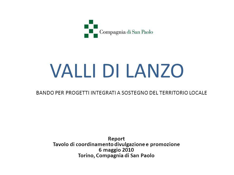 VALLI DI LANZO BANDO PER PROGETTI INTEGRATI A SOSTEGNO DEL TERRITORIO LOCALE Report Tavolo di coordinamento divulgazione e promozione 6 maggio 2010 To
