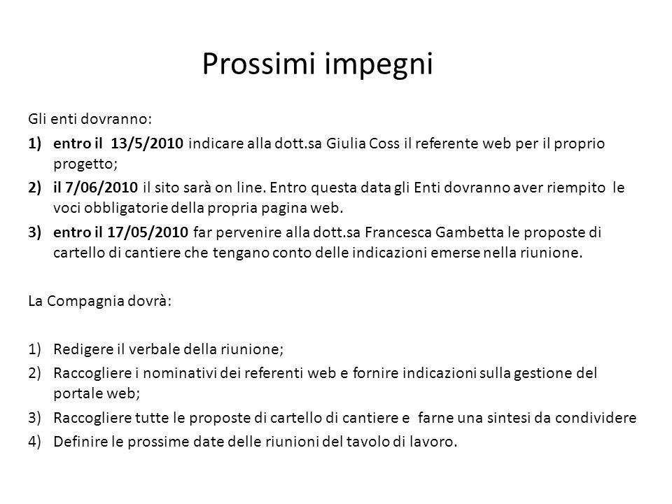 Gli enti dovranno: 1)entro il 13/5/2010 indicare alla dott.sa Giulia Coss il referente web per il proprio progetto; 2)il 7/06/2010 il sito sarà on lin