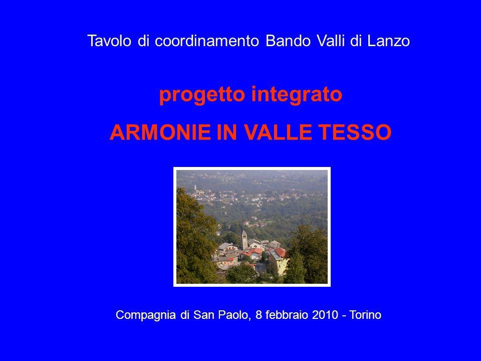 progetto integrato ARMONIE IN VALLE TESSO Compagnia di San Paolo, 8 febbraio 2010 - Torino Tavolo di coordinamento Bando Valli di Lanzo