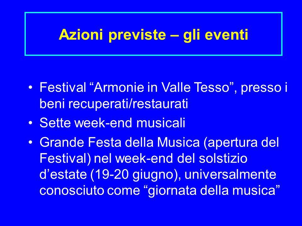 Azioni previste – gli eventi Festival Armonie in Valle Tesso, presso i beni recuperati/restaurati Sette week-end musicali Grande Festa della Musica (a