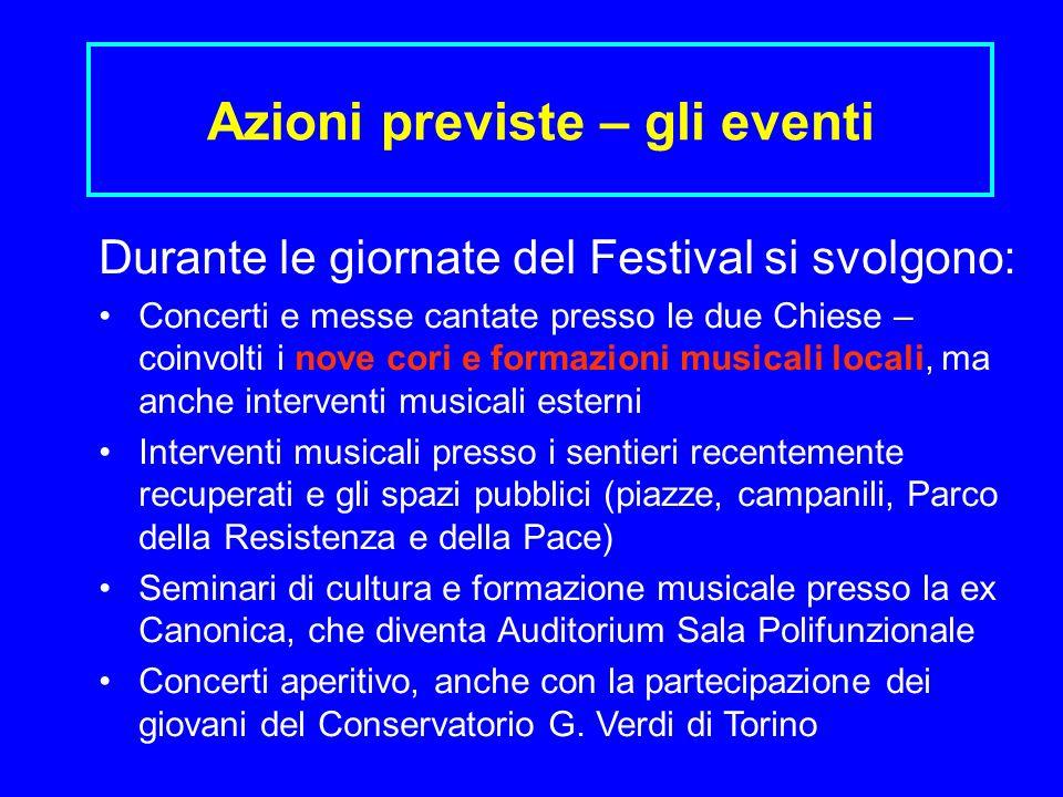 Azioni previste – gli eventi Durante le giornate del Festival si svolgono: Concerti e messe cantate presso le due Chiese – coinvolti i nove cori e for