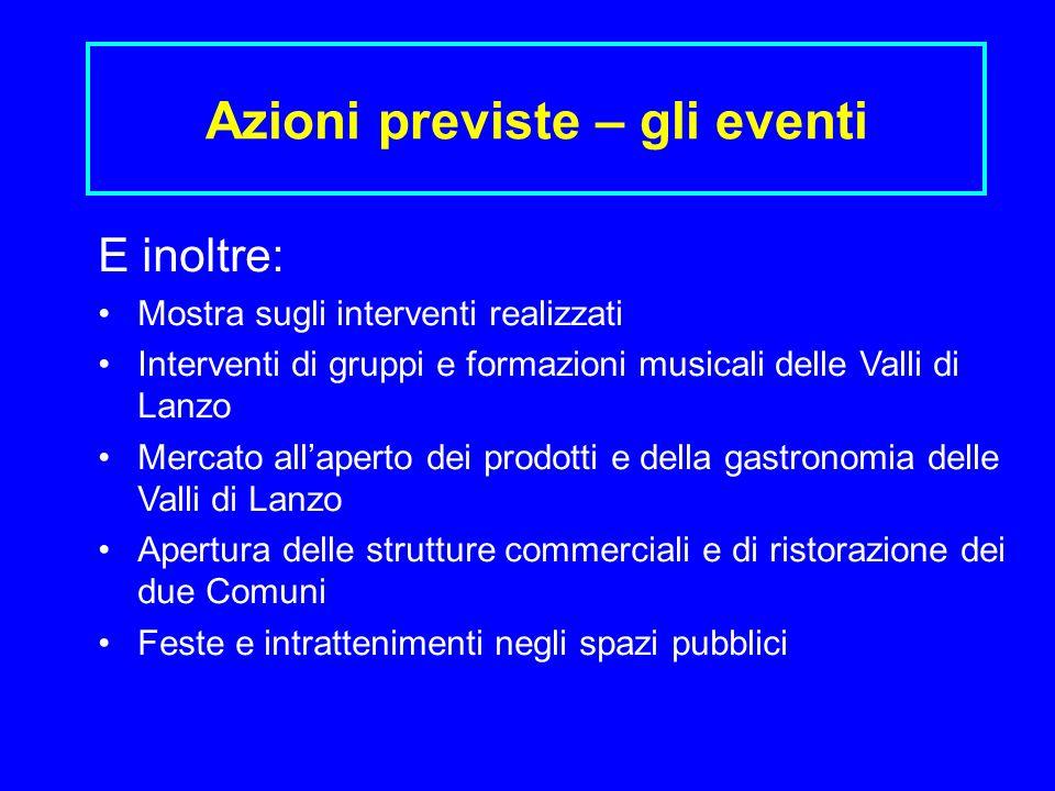 Azioni previste – gli eventi E inoltre: Mostra sugli interventi realizzati Interventi di gruppi e formazioni musicali delle Valli di Lanzo Mercato all