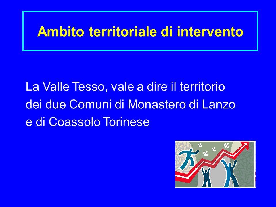 Ambito territoriale di intervento La Valle Tesso, vale a dire il territorio dei due Comuni di Monastero di Lanzo e di Coassolo Torinese