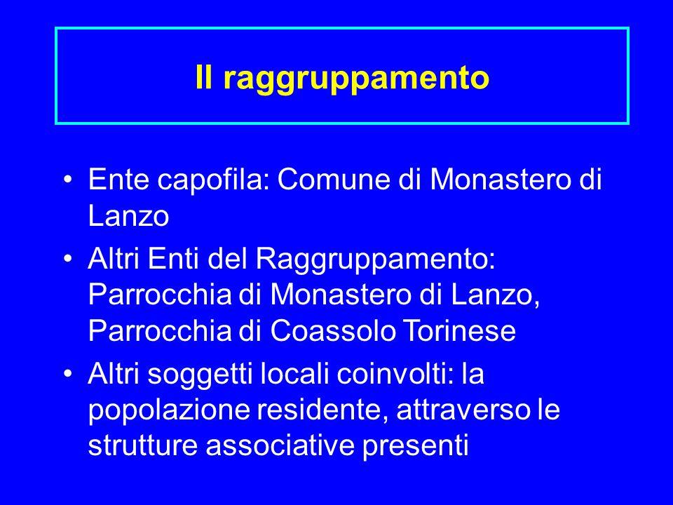 Il raggruppamento Ente capofila: Comune di Monastero di Lanzo Altri Enti del Raggruppamento: Parrocchia di Monastero di Lanzo, Parrocchia di Coassolo