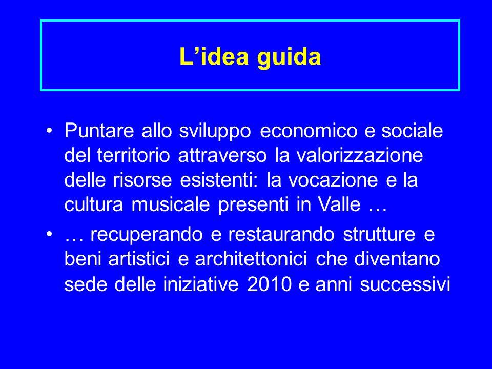 Lidea guida Puntare allo sviluppo economico e sociale del territorio attraverso la valorizzazione delle risorse esistenti: la vocazione e la cultura m