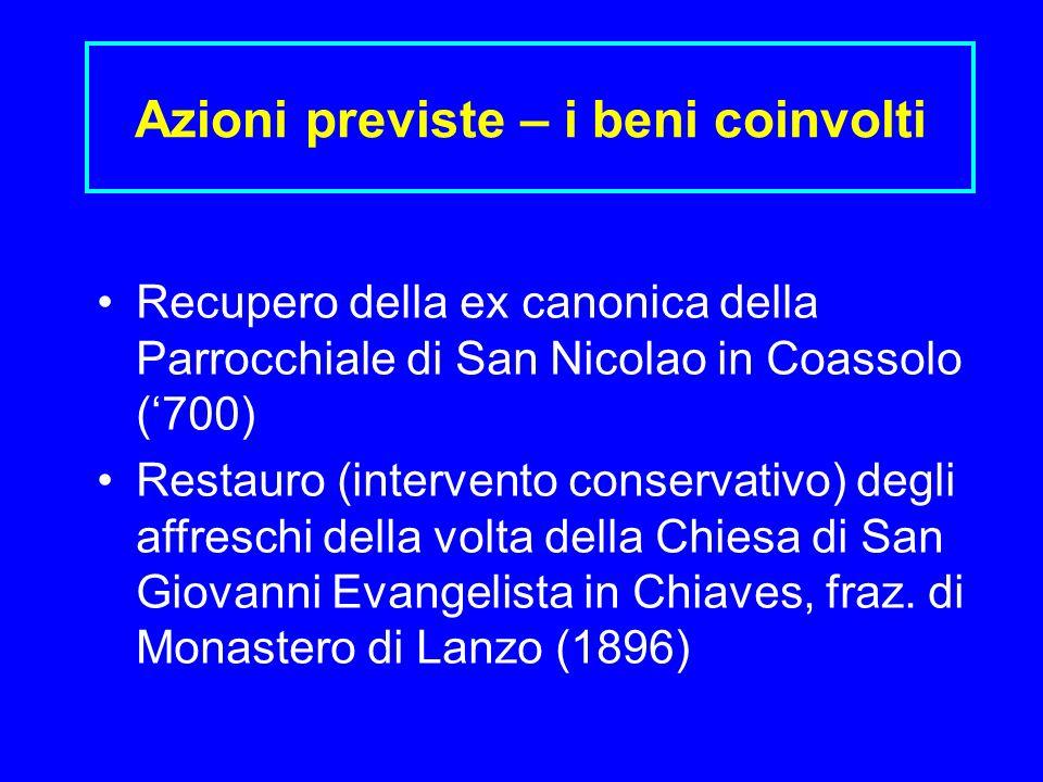 Azioni previste – i beni coinvolti Recupero della ex canonica della Parrocchiale di San Nicolao in Coassolo (700) Restauro (intervento conservativo) d