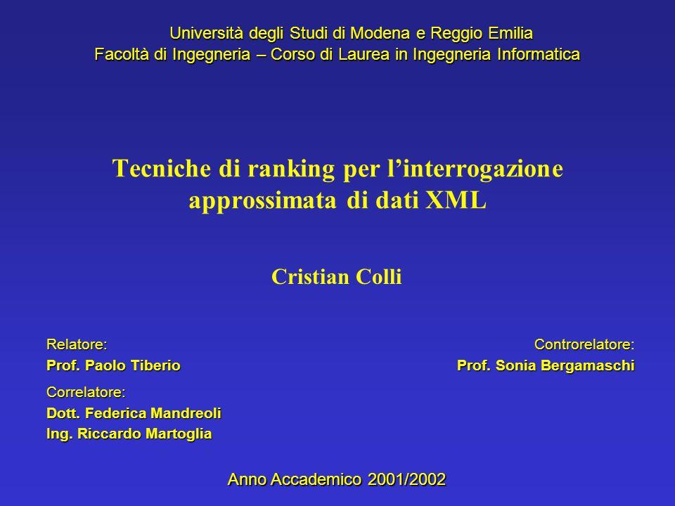 Cristian Colli Università degli Studi di Modena e Reggio Emilia Facoltà di Ingegneria – Corso di Laurea in Ingegneria Informatica Anno Accademico 2001/2002 Relatore: Prof.