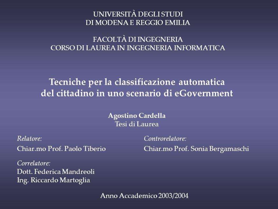 UNIVERSITÀ DEGLI STUDI DI MODENA E REGGIO EMILIA FACOLTÀ DI INGEGNERIA CORSO DI LAUREA IN INGEGNERIA INFORMATICA Relatore: Chiar.mo Prof.