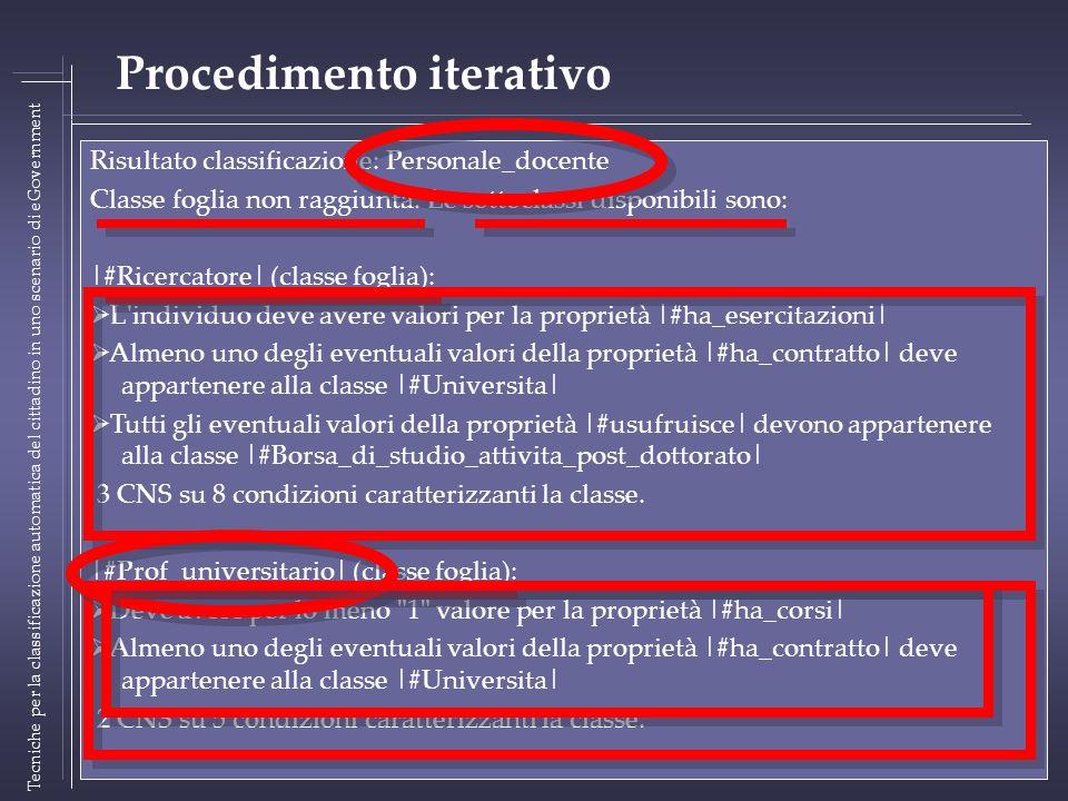 Risultato classificazione: Personale_docente Classe foglia non raggiunta. Le sottoclassi disponibili sono: Tecniche per la classificazione automatica