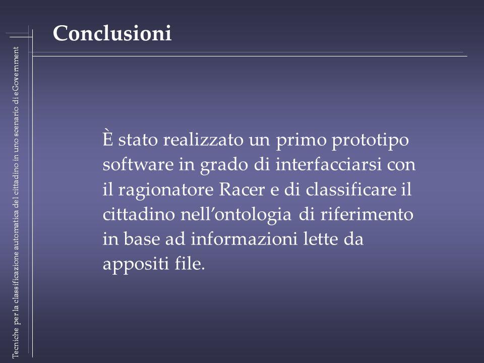Tecniche per la classificazione automatica del cittadino in uno scenario di eGovernment Conclusioni È stato realizzato un primo prototipo software in