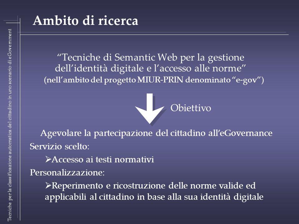 Tecniche di Semantic Web per la gestione dellidentità digitale e laccesso alle norme (nellambito del progetto MIUR-PRIN denominato e-gov) Tecniche per