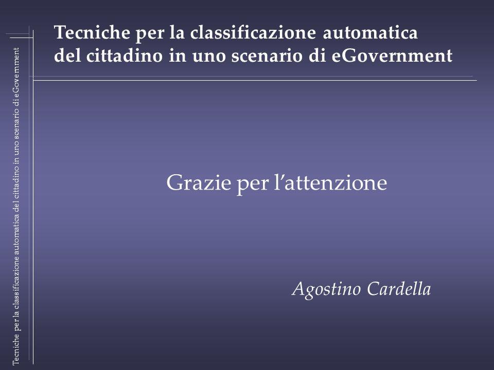 Tecniche per la classificazione automatica del cittadino in uno scenario di eGovernment Grazie per lattenzione Agostino Cardella