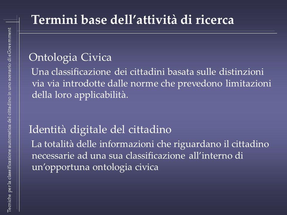 Ontologia Civica Una classificazione dei cittadini basata sulle distinzioni via via introdotte dalle norme che prevedono limitazioni della loro applicabilità.