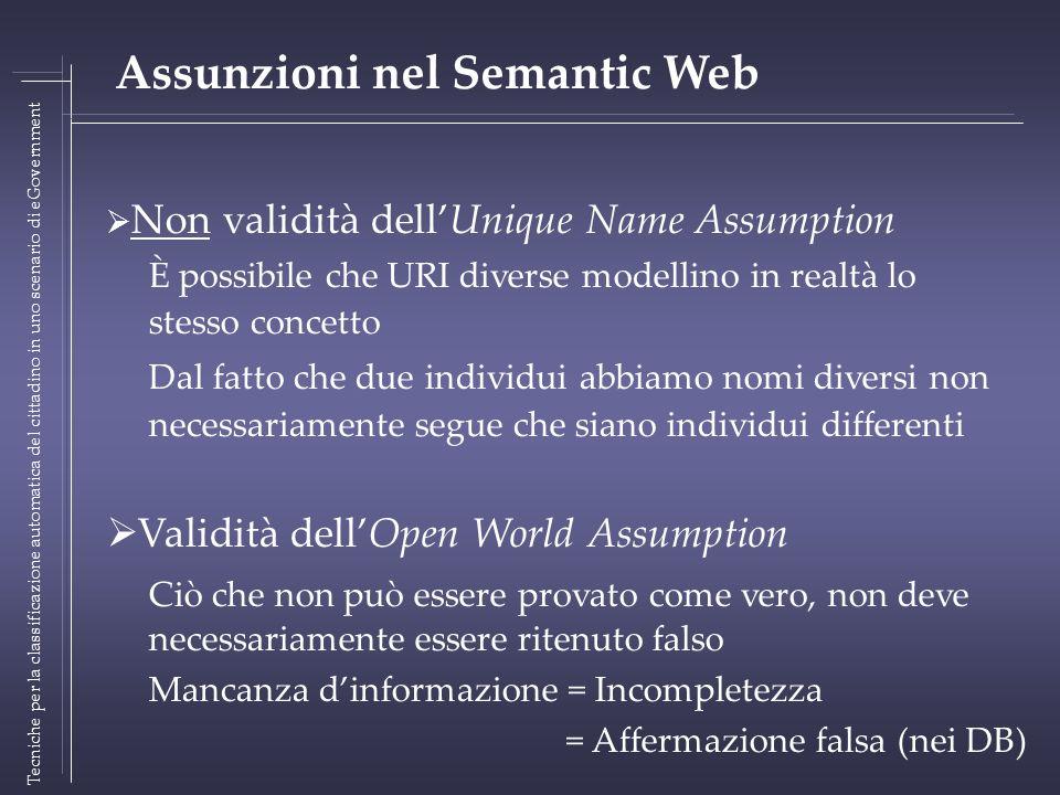 Non validità dellUnique Name Assumption È possibile che URI diverse modellino in realtà lo stesso concetto Dal fatto che due individui abbiamo nomi di