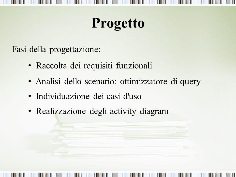 Progetto Fasi della progettazione: Raccolta dei requisiti funzionali Analisi dello scenario: ottimizzatore di query Individuazione dei casi d uso Realizzazione degli activity diagram