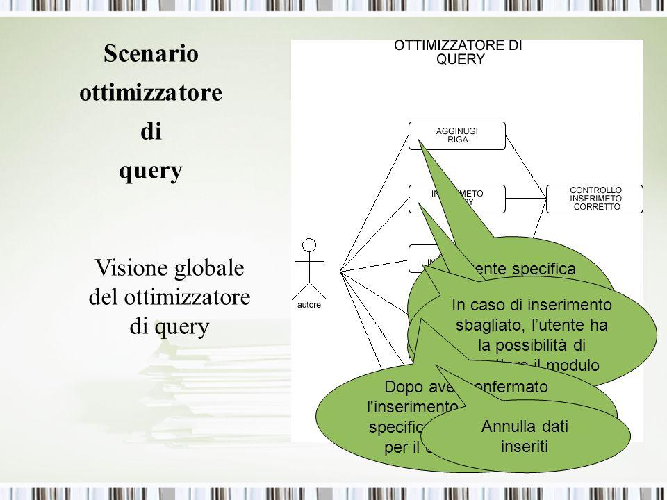 Scenario ottimizzatore di query Visione globale del ottimizzatore di query Lutente specifica le dimensioni del form, aggiungendo delle righe Inserimen