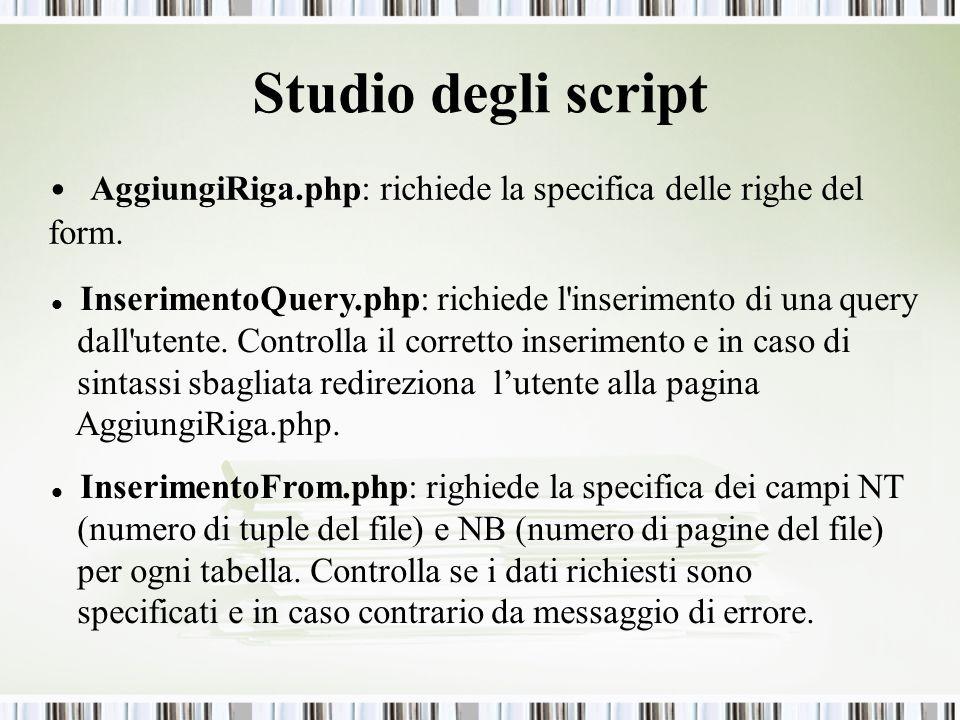 Studio degli script AggiungiRiga.php: richiede la specifica delle righe del form. InserimentoQuery.php: richiede l'inserimento di una query dall'utent