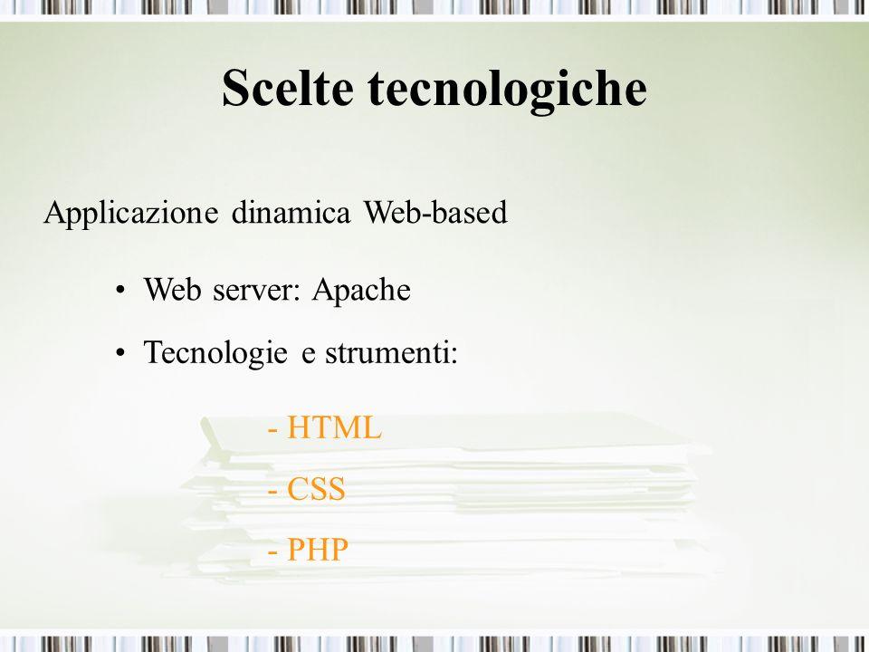 Scelte tecnologiche Applicazione dinamica Web-based Web server: Apache Tecnologie e strumenti: - HTML - CSS - PHP