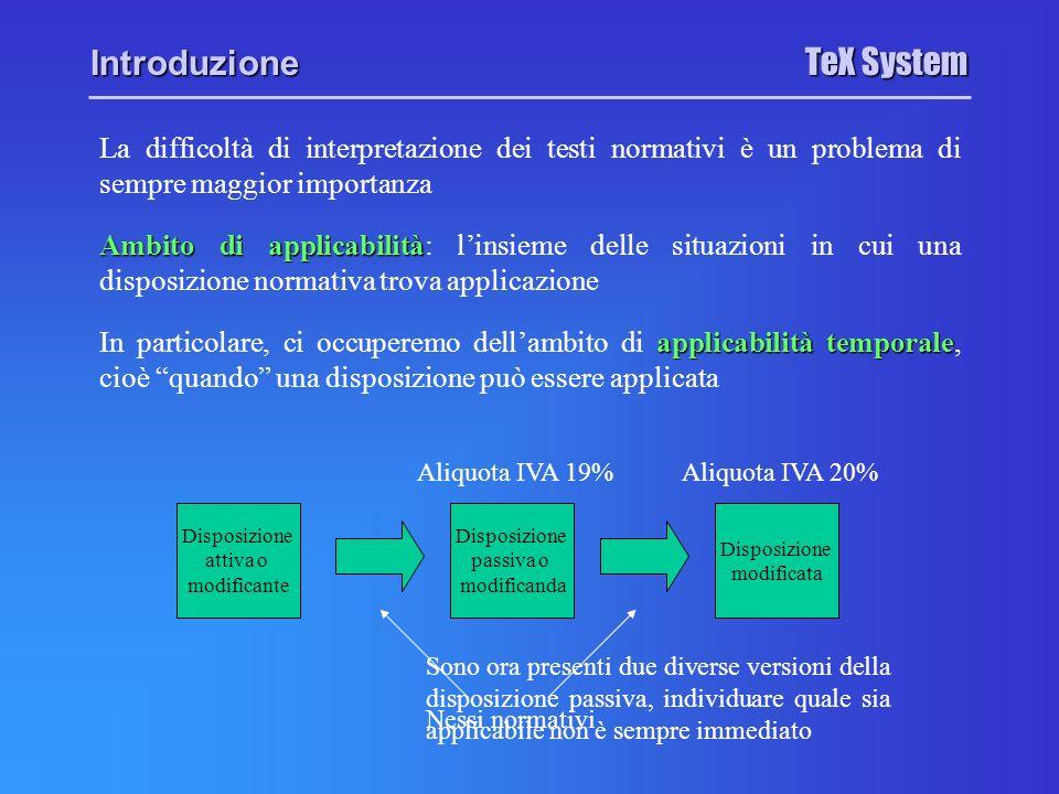TeX System Introduzione Modifiche testuali Modifiche testuali: eliminano la disposizione passiva o ne cambiano in testo Modifiche temporali Modifiche temporali: incidono sullambito di applicabilità temporale della disposizione senza modificarne il testo Esempio: Lart.