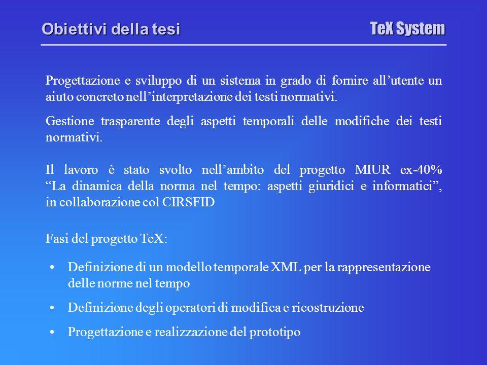 TeX System Modello Temporale XML I requisiti di un modello per la rappresentazione dei testi normativi sono: rispetto della struttura gerarchica articolato – capo – articolo – comma Ereditarietà Raffinamento Versioni e Timestamp Ver1 Ver2 capacità di ogni livello della gerarchia di rappresentare versioni multiple, ognuna caratterizzata dai propri attributi temporali