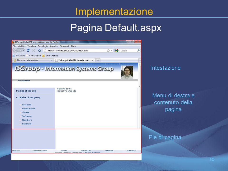 Implementazione Pagina Default.aspx 10 Intestazione Menu di destra e contenuto della pagina Pie di pagina