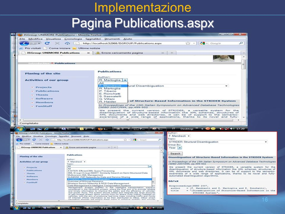 Pagina Publications.aspx Implementazione Pagina Publications.aspx 16