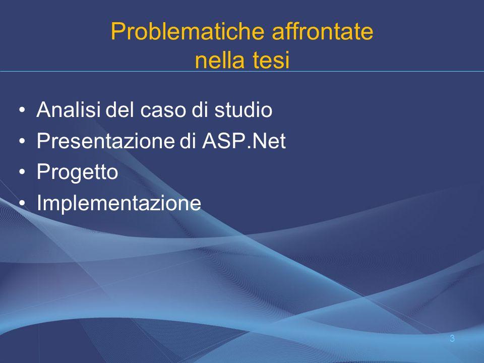 Problematiche affrontate nella tesi Analisi del caso di studio Presentazione di ASP.Net Progetto Implementazione 3