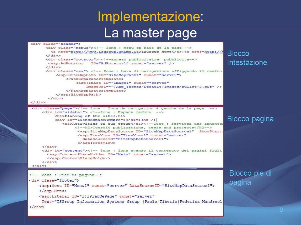 Implementazione: La master page 9 Blocco Intestazione Blocco pagina Blocco pie di pagina