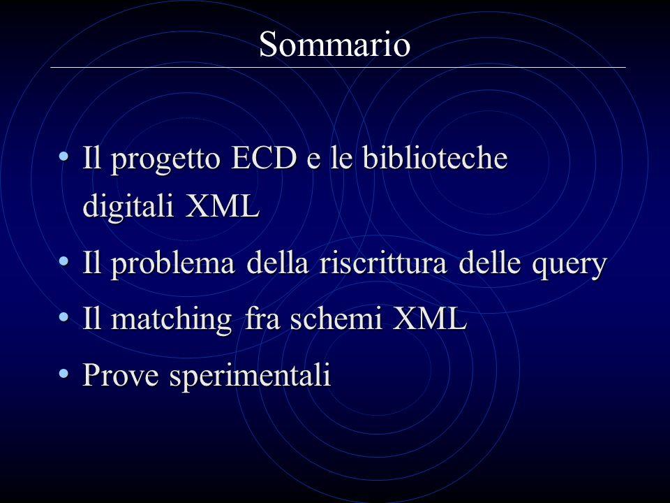 Sommario Il progetto ECD e le biblioteche digitali XML Il progetto ECD e le biblioteche digitali XML Il problema della riscrittura delle query Il prob