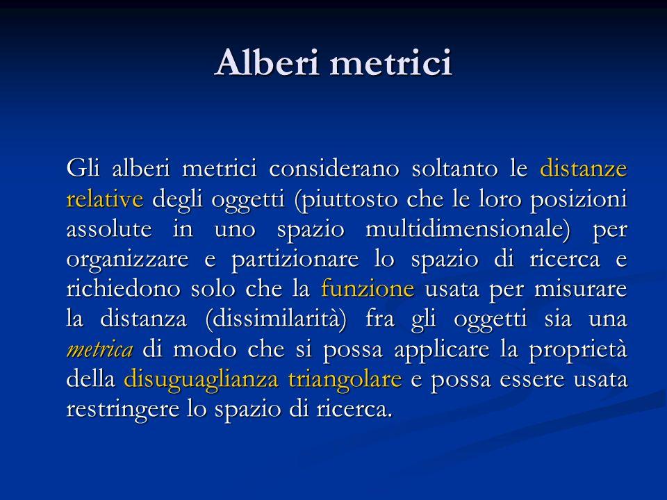 Alberi metrici Gli alberi metrici considerano soltanto le distanze relative degli oggetti (piuttosto che le loro posizioni assolute in uno spazio mult