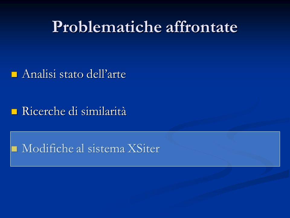 Problematiche affrontate Analisi stato dellarte Analisi stato dellarte Ricerche di similarità Ricerche di similarità Modifiche al sistema XSiter Modif