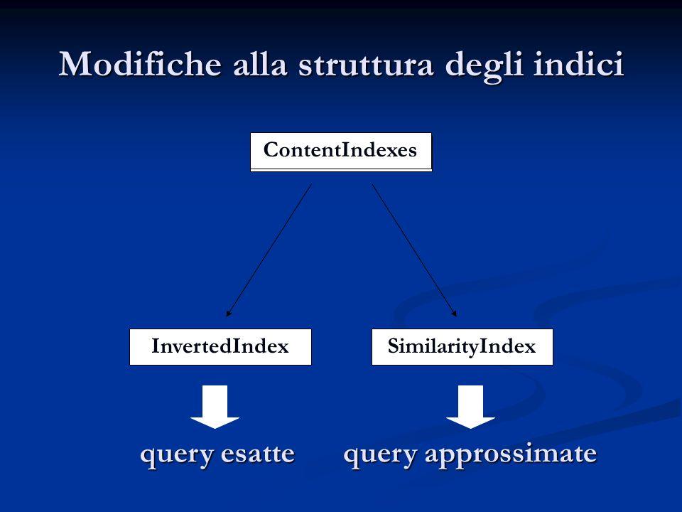 ContentIndex InvertedIndexSimilarityIndex Modifiche alla struttura degli indici query esatte query approssimate ContentIndexes