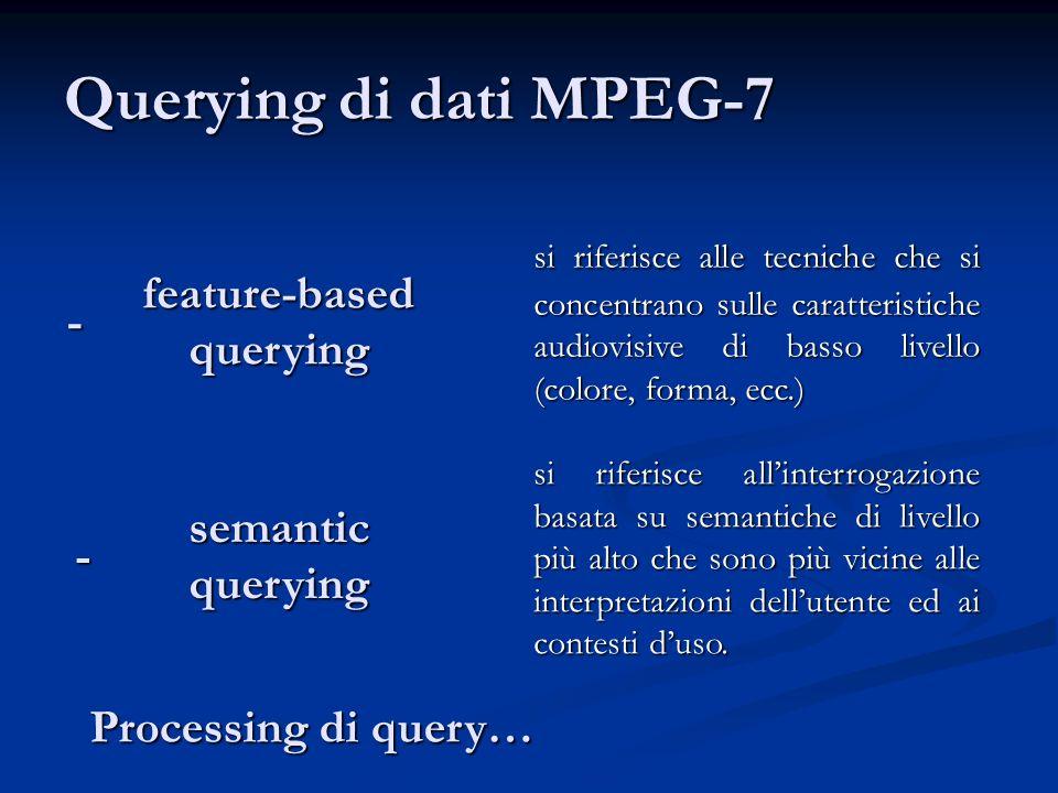Querying di dati MPEG-7 feature-based querying semantic querying si riferisce alle tecniche che si concentrano sulle caratteristiche audiovisive di basso livello (colore, forma, ecc.) si riferisce allinterrogazione basata su semantiche di livello più alto che sono più vicine alle interpretazioni dellutente ed ai contesti duso.