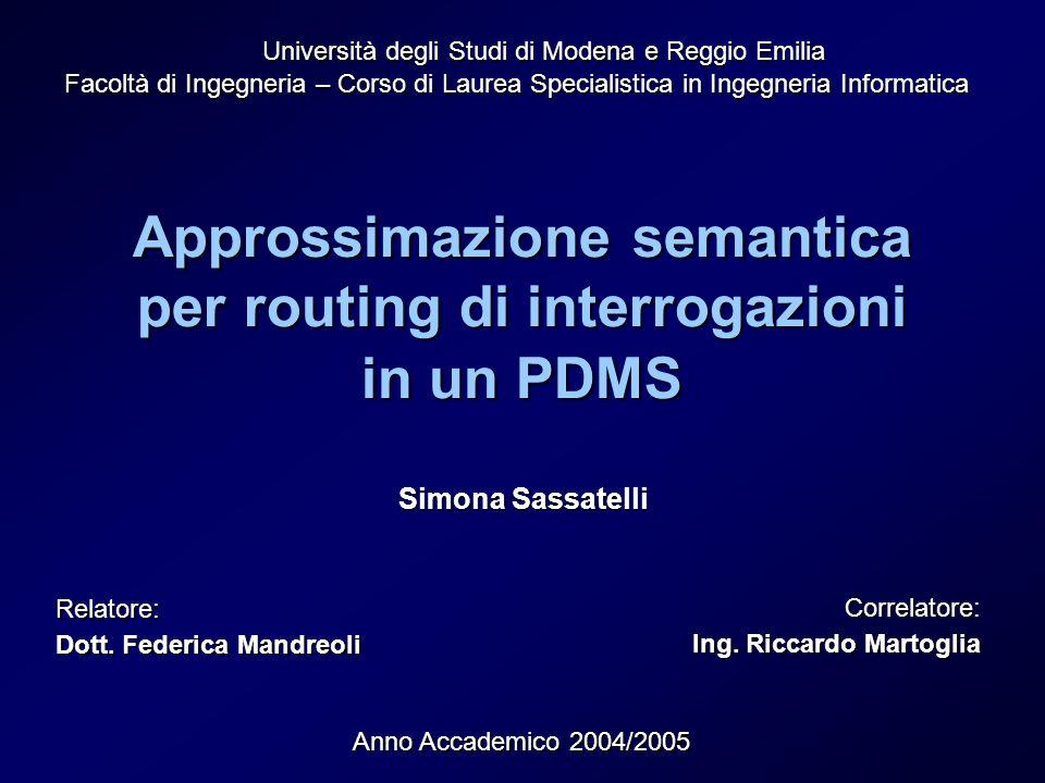Approssimazione semantica per routing di interrogazioni in un PDMS Università degli Studi di Modena e Reggio Emilia Facoltà di Ingegneria – Corso di L