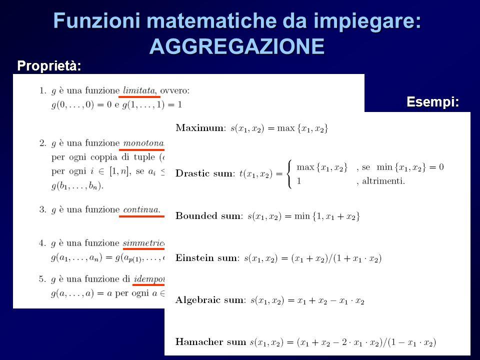 Funzioni matematiche da impiegare: AGGREGAZIONE Proprietà: Esempi: