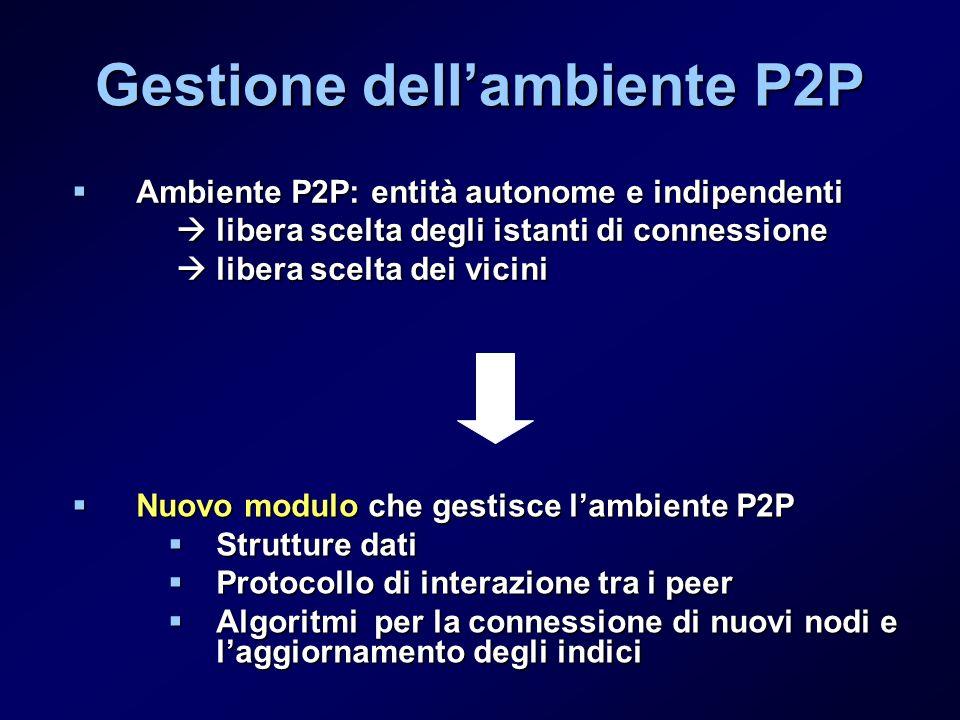 Gestione dellambiente P2P Ambiente P2P: entità autonome e indipendenti Ambiente P2P: entità autonome e indipendenti libera scelta degli istanti di connessione libera scelta degli istanti di connessione libera scelta dei vicini libera scelta dei vicini Nuovo modulo che gestisce lambiente P2P Nuovo modulo che gestisce lambiente P2P Strutture dati Strutture dati Protocollo di interazione tra i peer Protocollo di interazione tra i peer Algoritmi per la connessione di nuovi nodi e laggiornamento degli indici Algoritmi per la connessione di nuovi nodi e laggiornamento degli indici